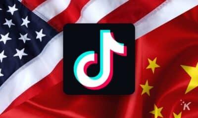 tiktok us flag and chinese flag