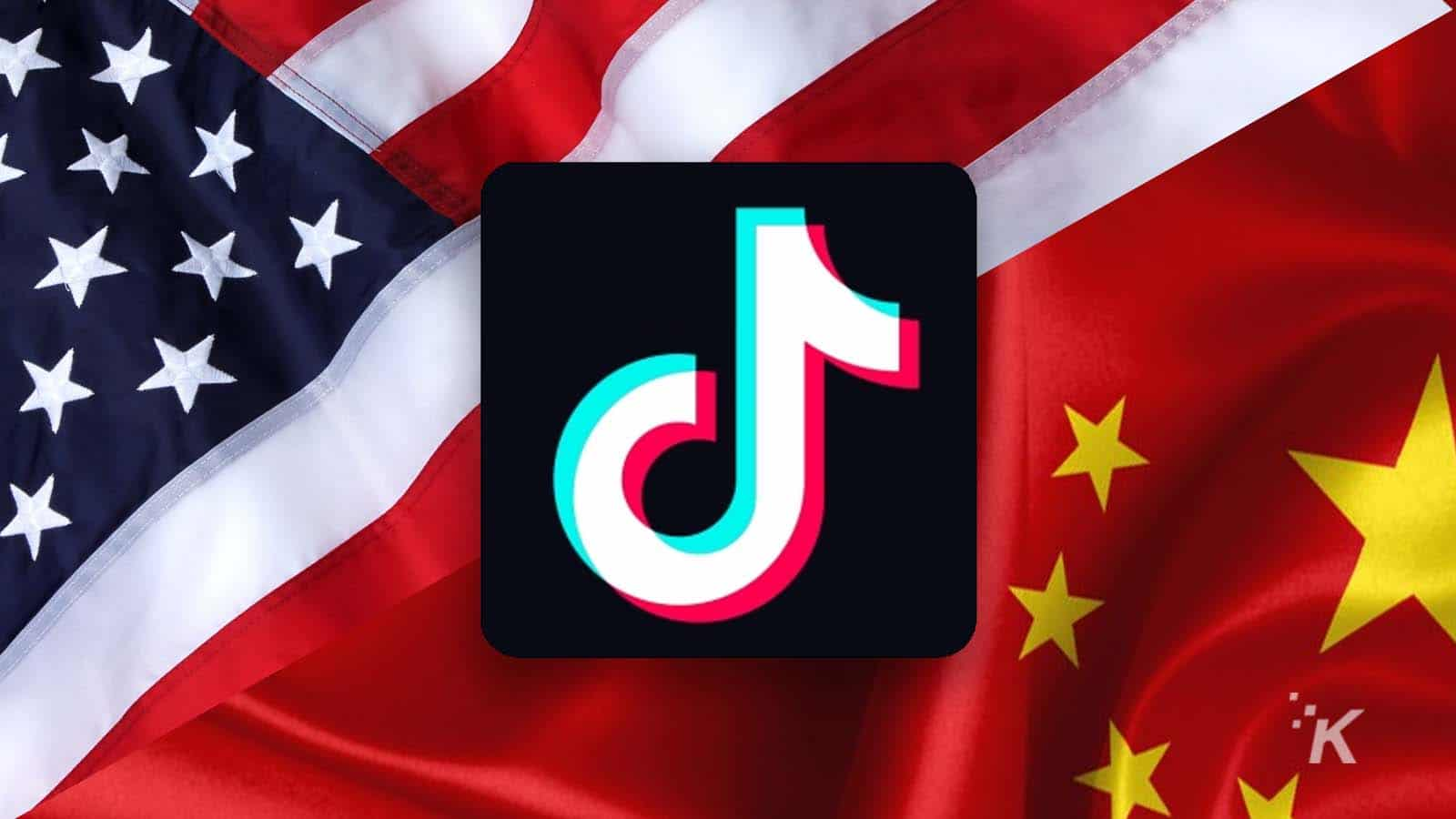 tiktok us flag and chinese flag