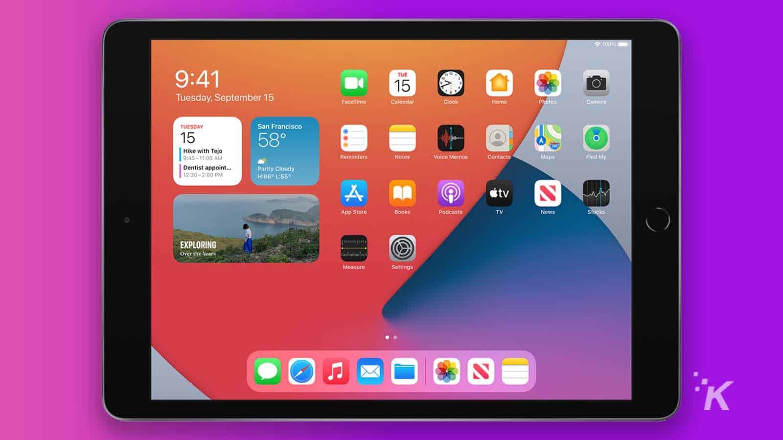 8th generation apple ipad on purple background