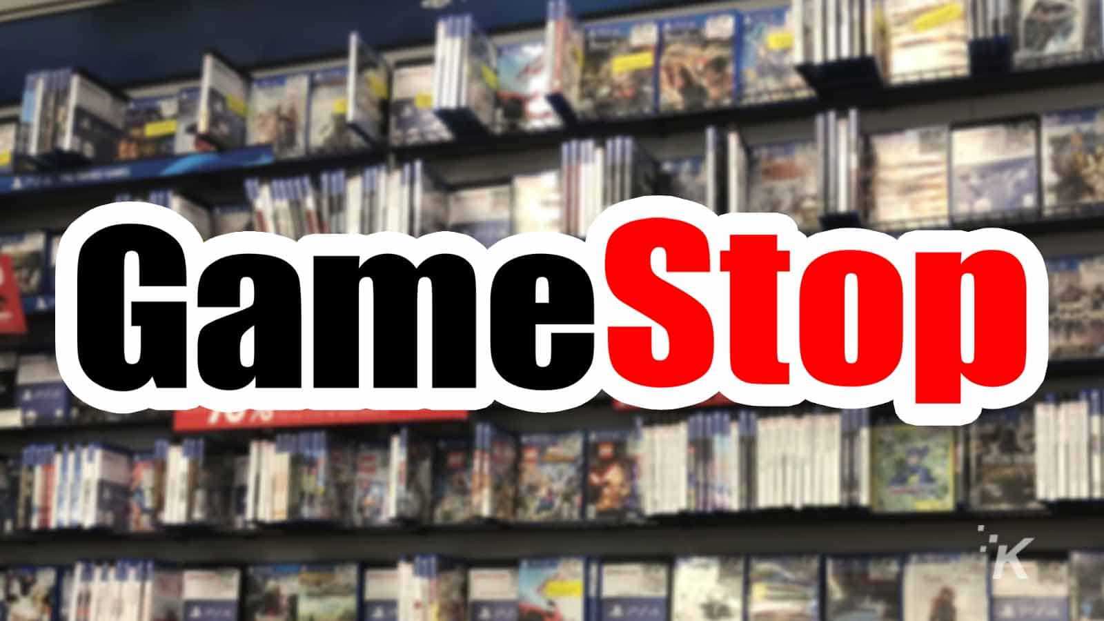 gamestop logo with games in the background