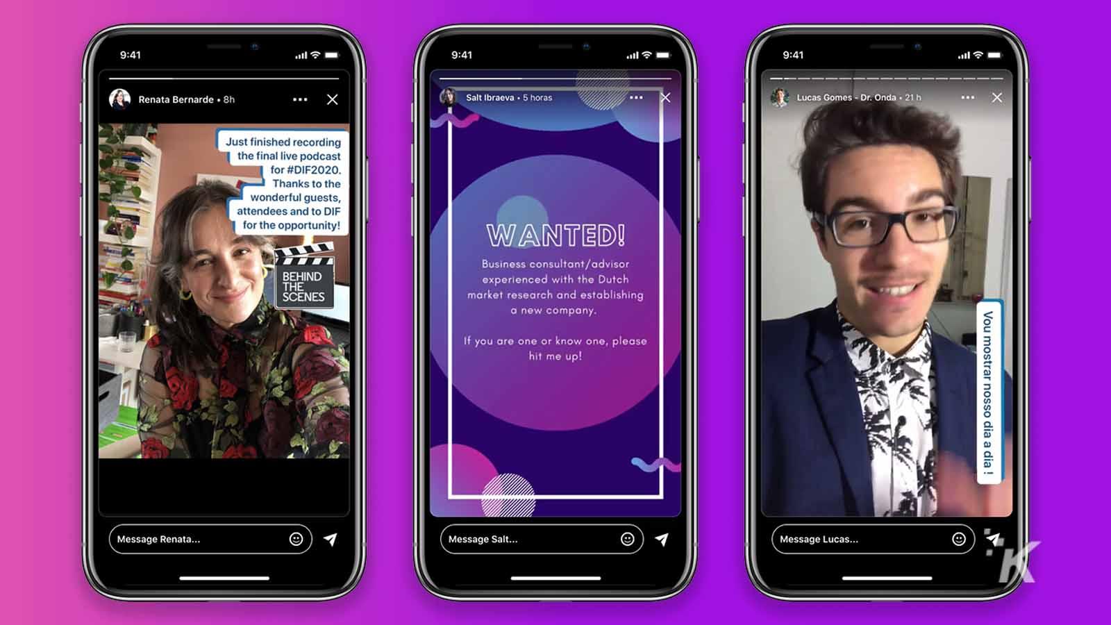 linkedin stories on purple background