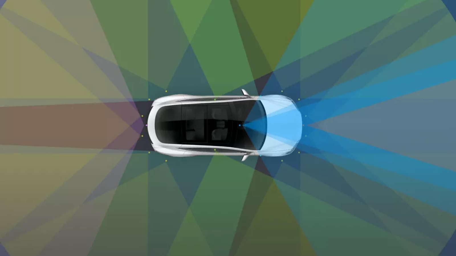 tesla car visualizing full-self driving autopilot