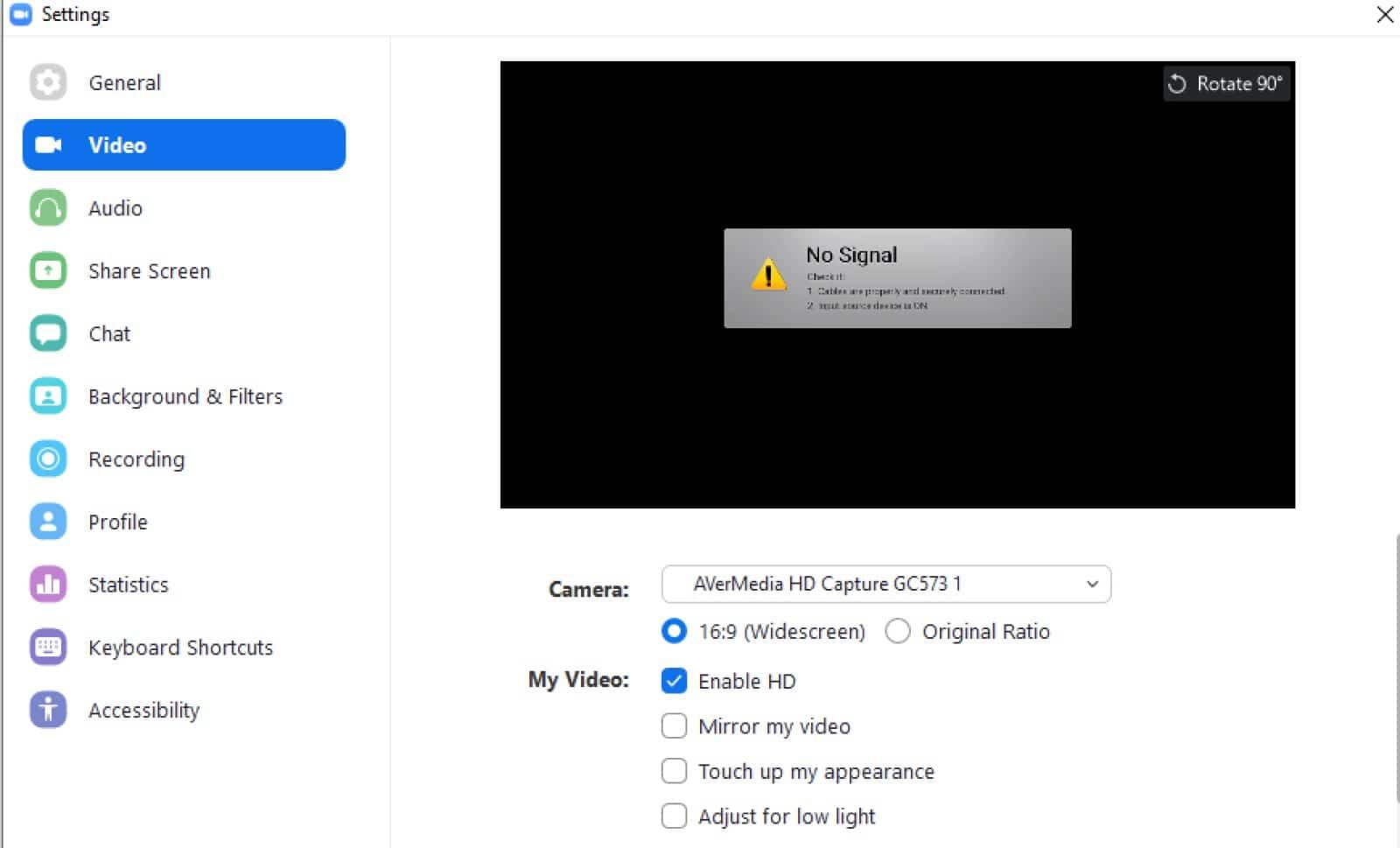 zoom video settings