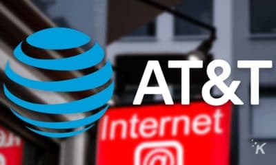 at&t logo on blurred background