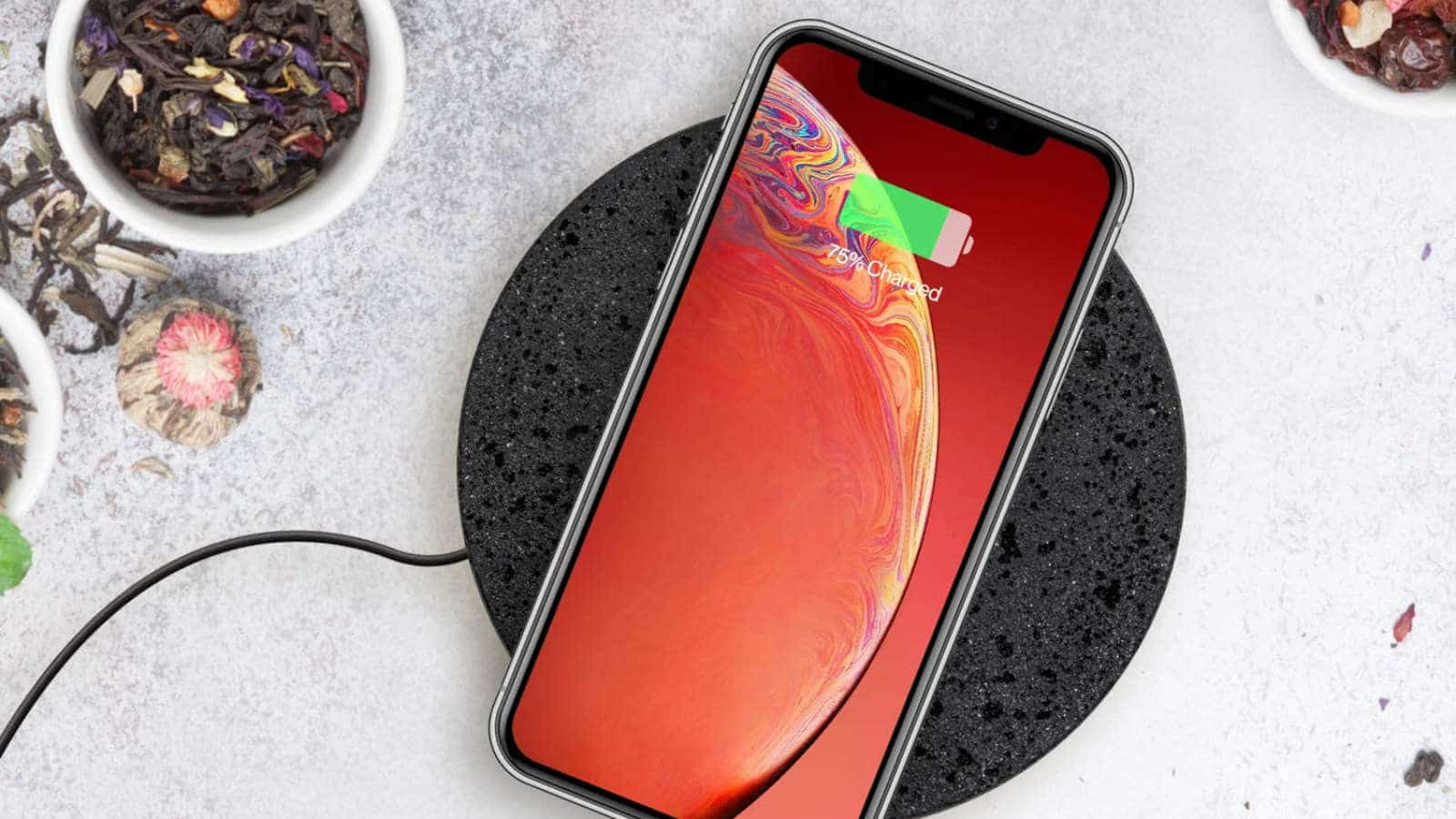 eggtronic wireless charging stone on table