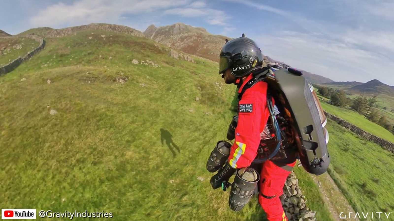 jet suit paramedic in flight