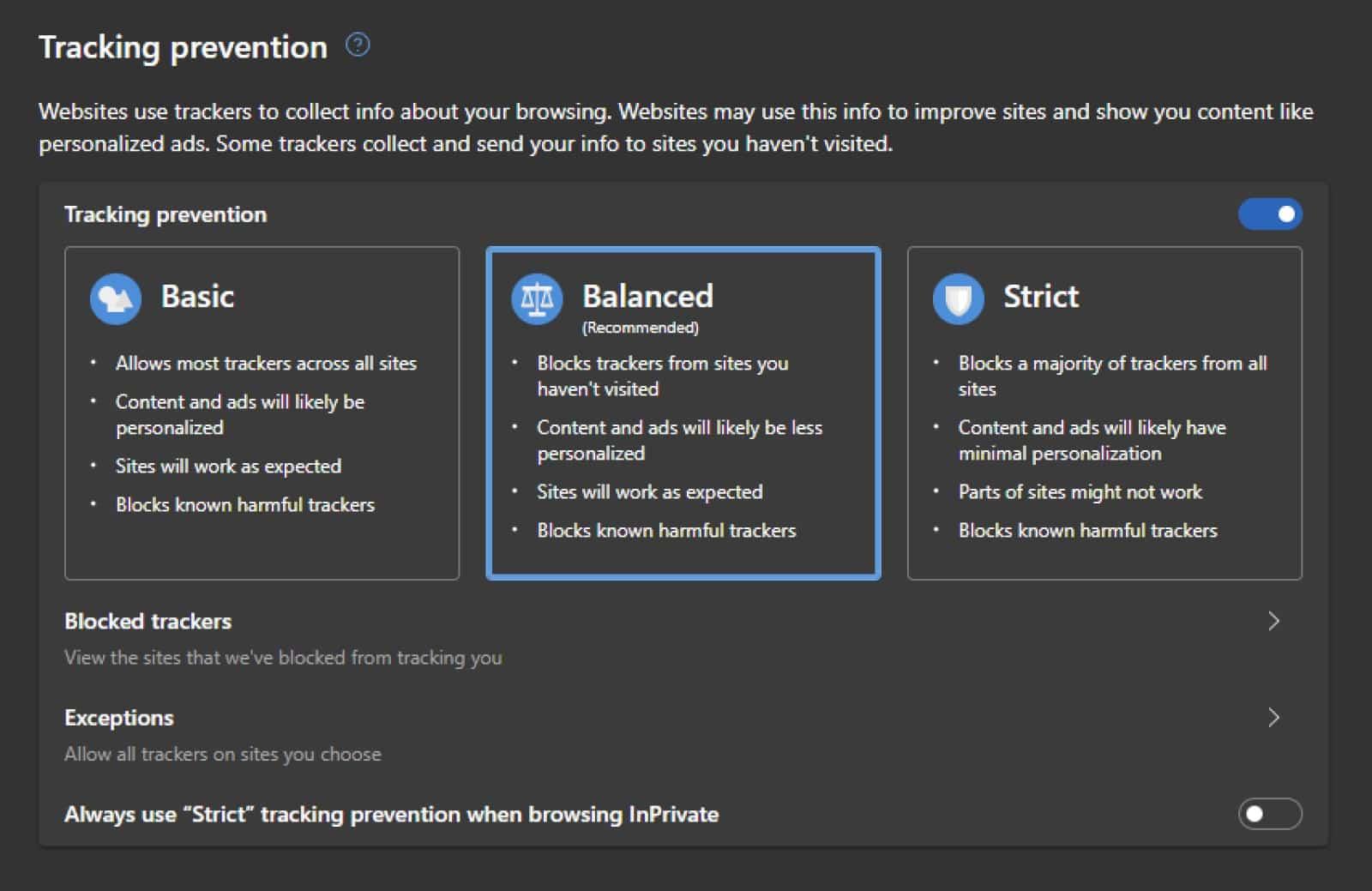 microsoft edge privacy settings