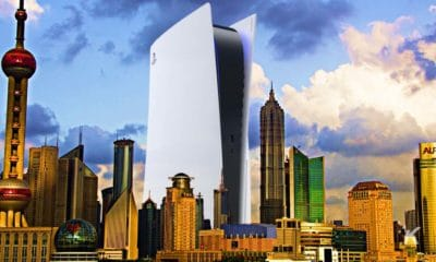 sony playstation 5 console with city skyline
