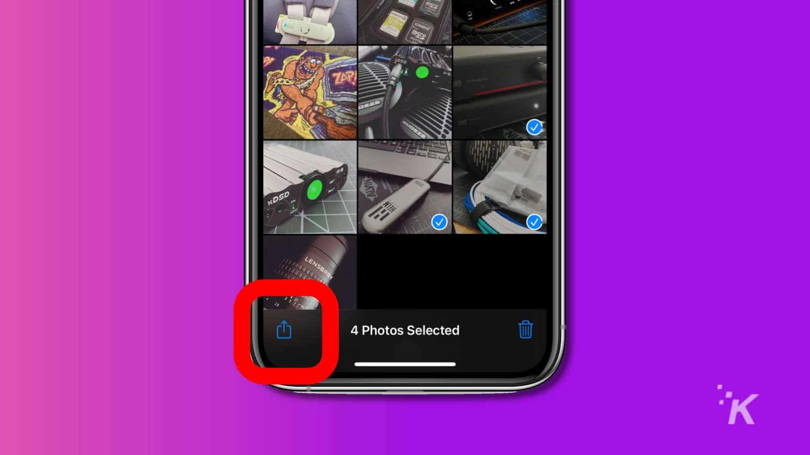 apple photos share button