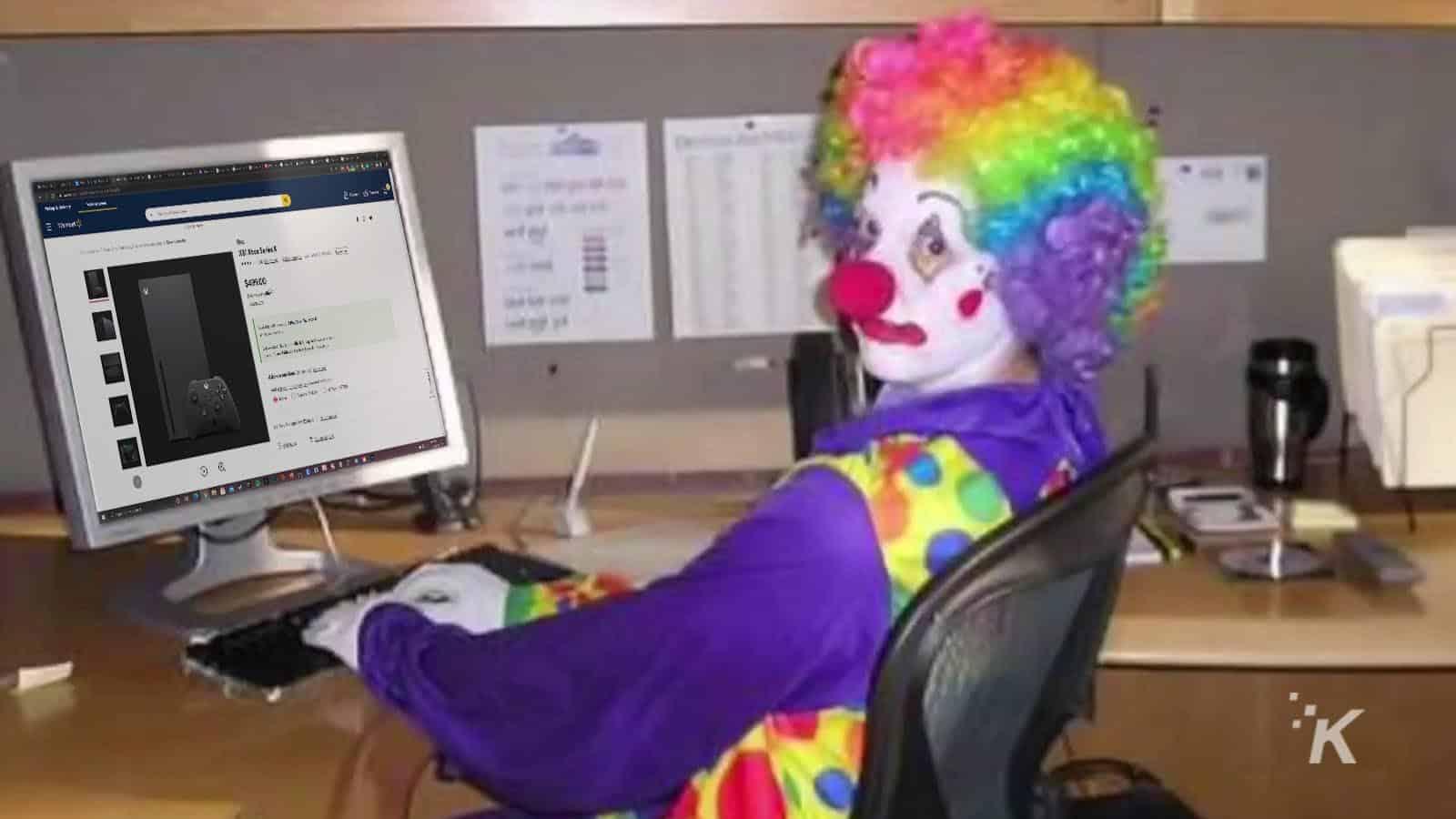 clown looking at walmart xbox series x page