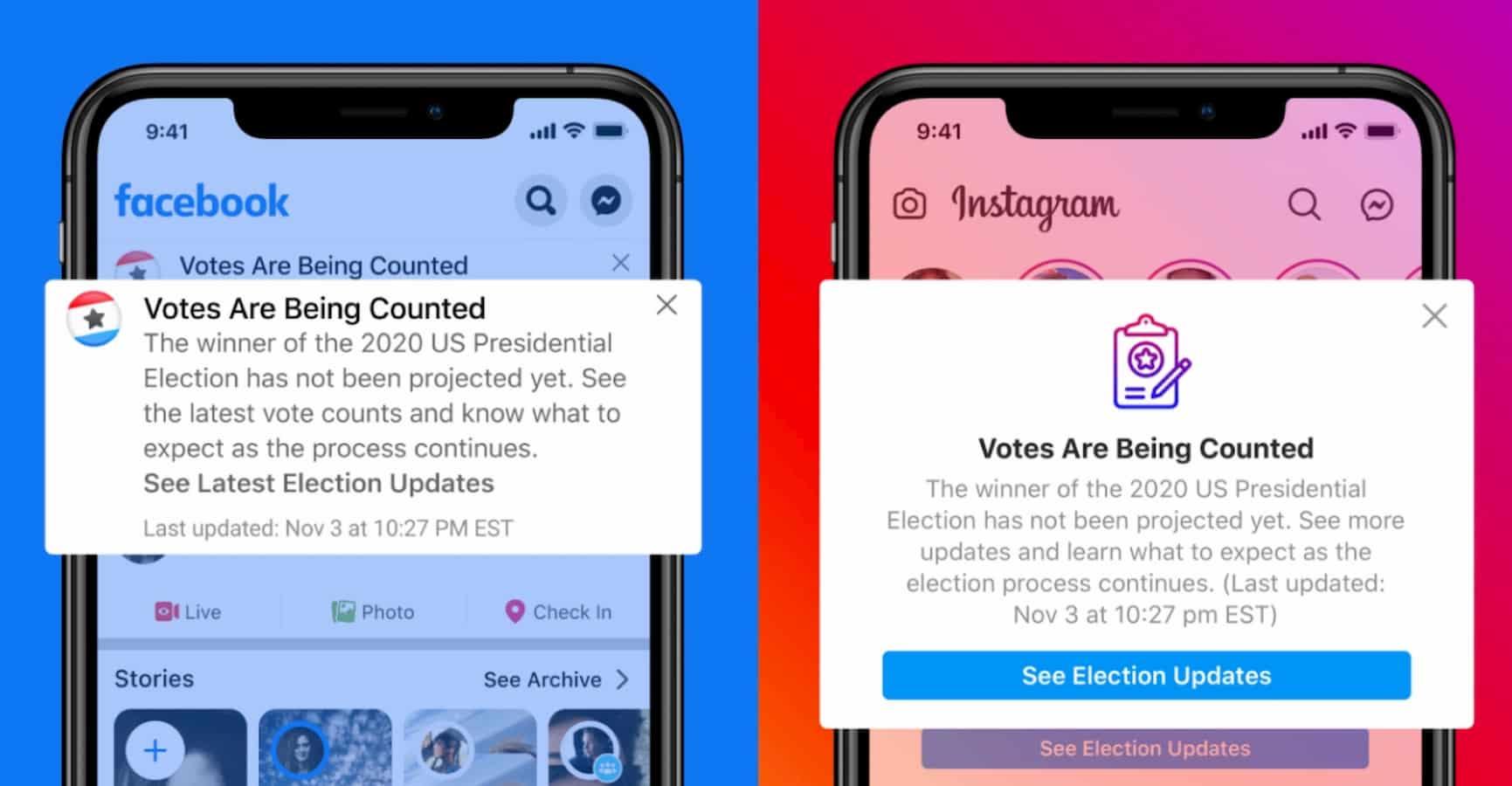facebook instagram app votes
