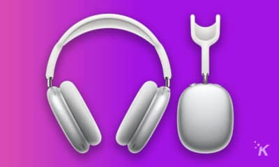 airpods max on purple background