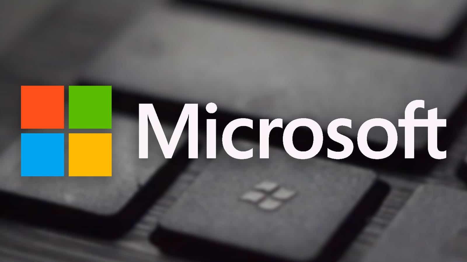 microsoft logo on blurred background