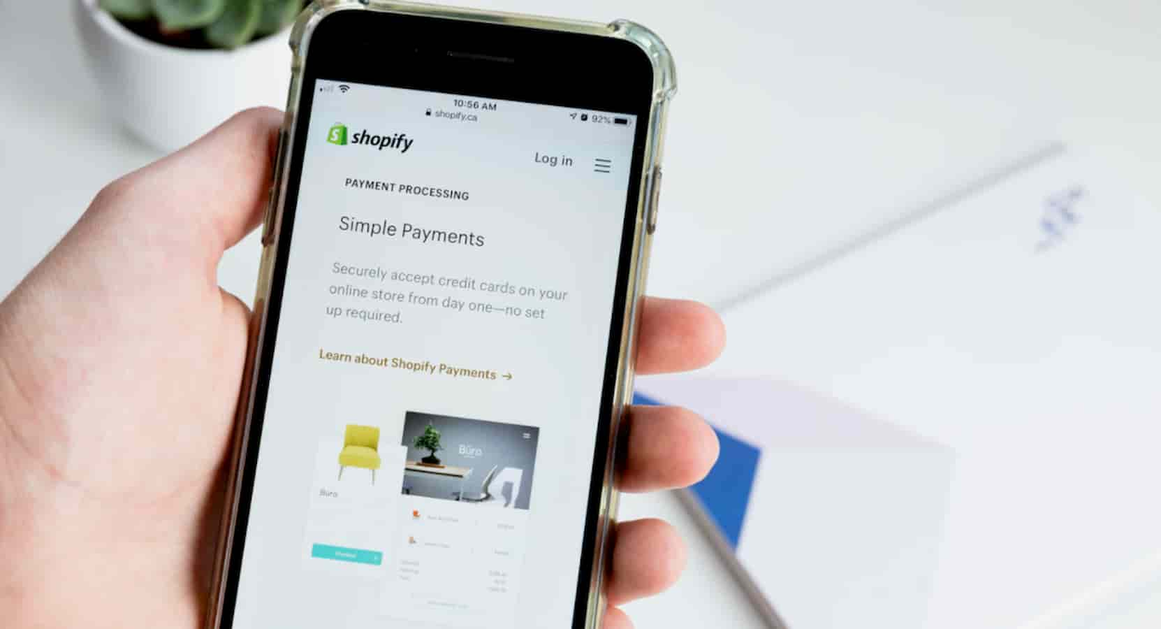 shopify store on a smartphone