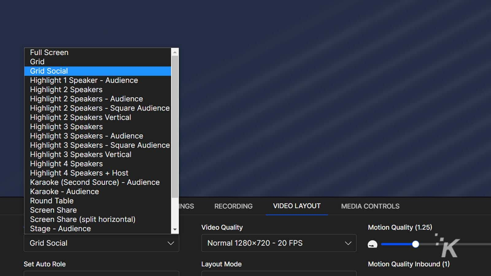 signalwire work screen options
