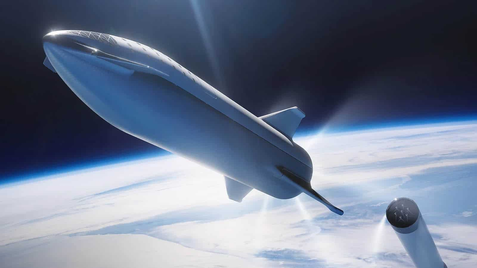 spacex starship rocket in space
