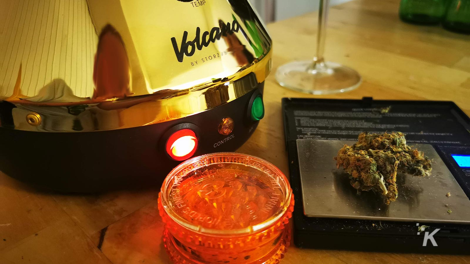 volcano with grinder and weed
