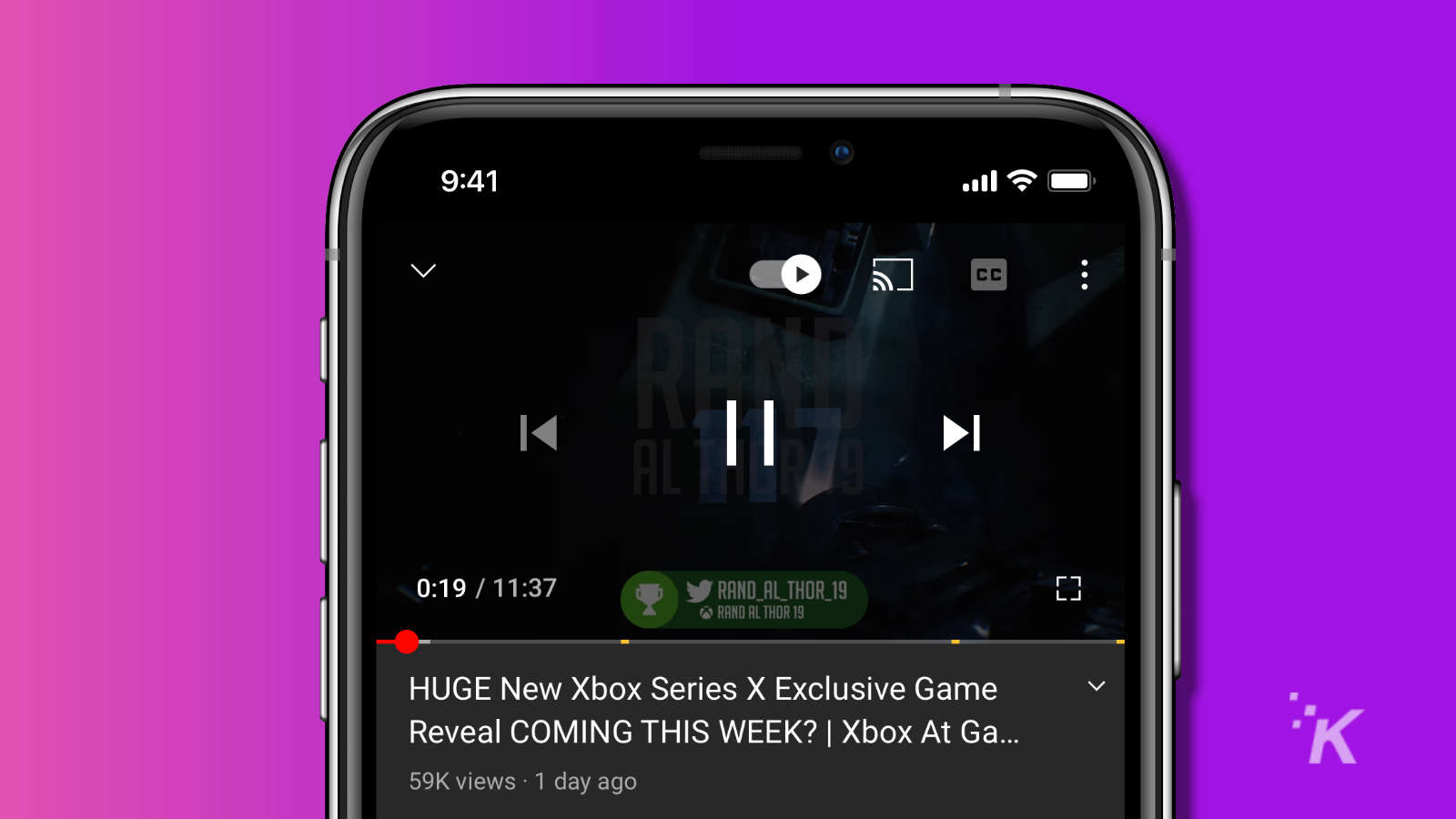 youtube app onscreen controls including closed captioning