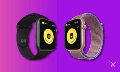 two apple watch devices showing walkie talkie app
