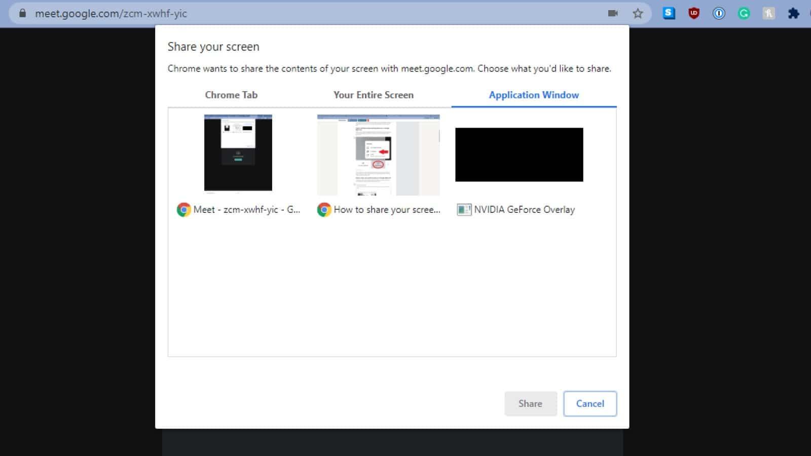 google meet screen sharing menu showing a choice between chrome tab, your entire screen, or application window