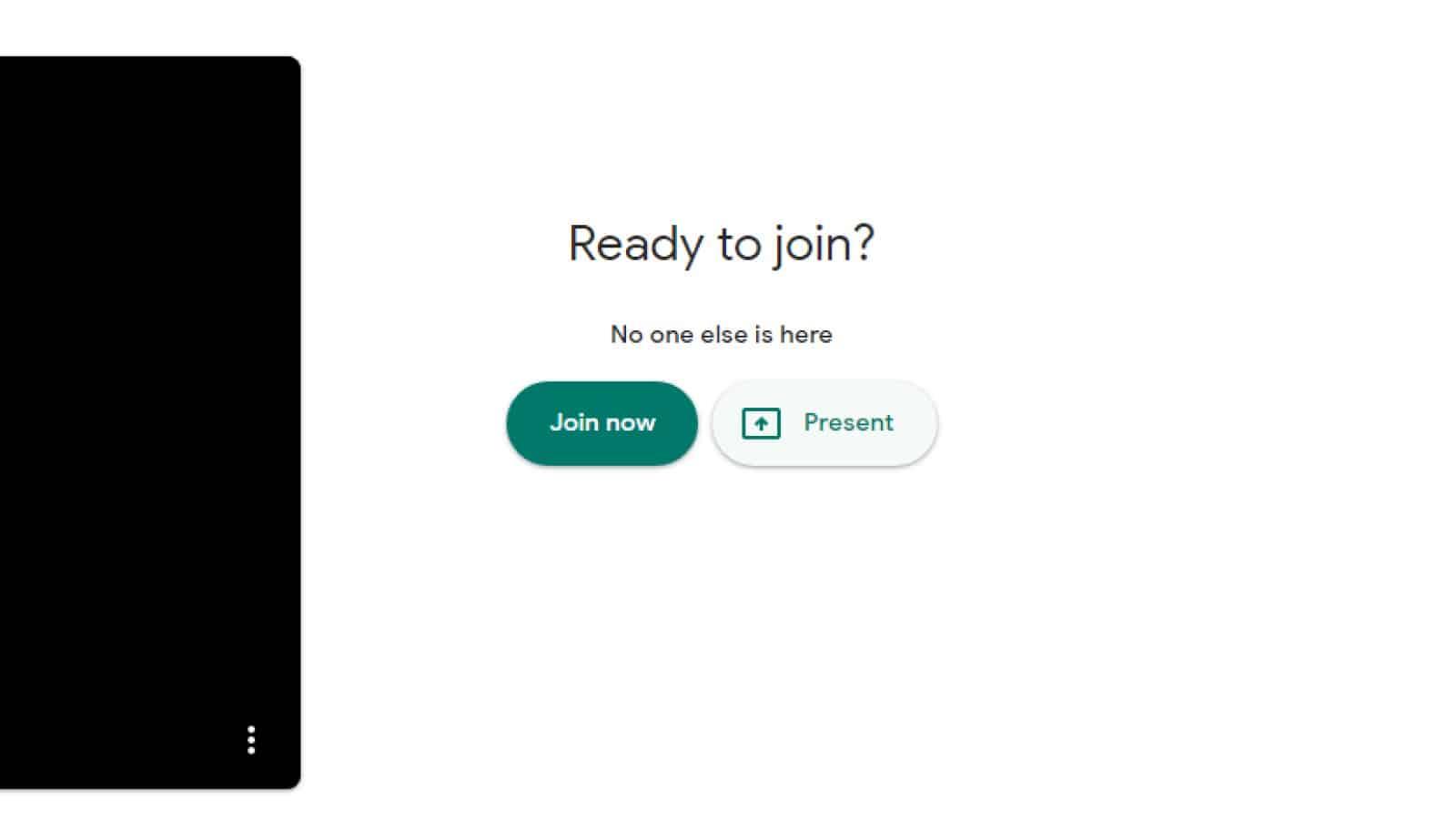 google meet call showing present button for screen sharing