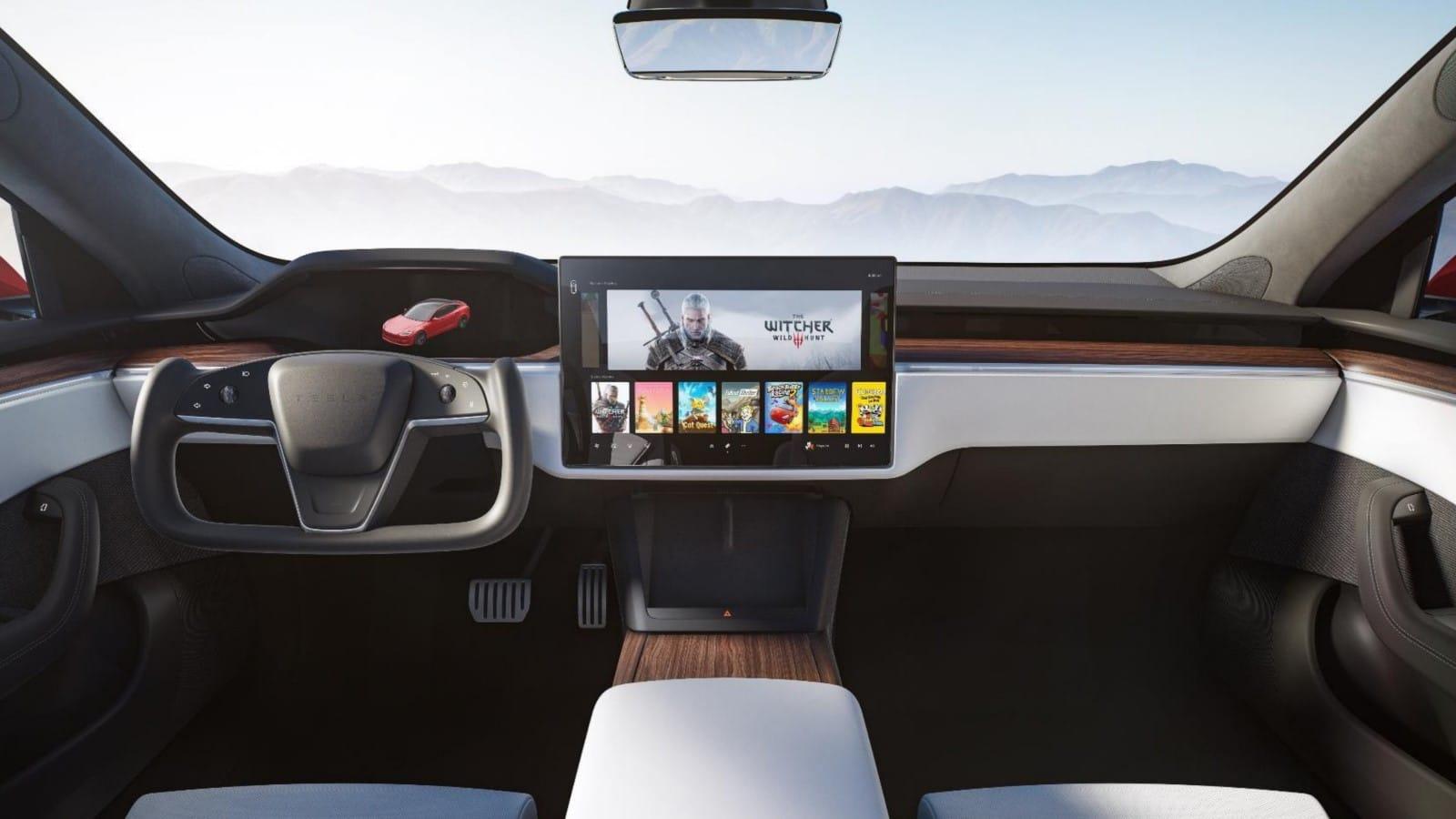 interior of redesigned tesla Model S sedan