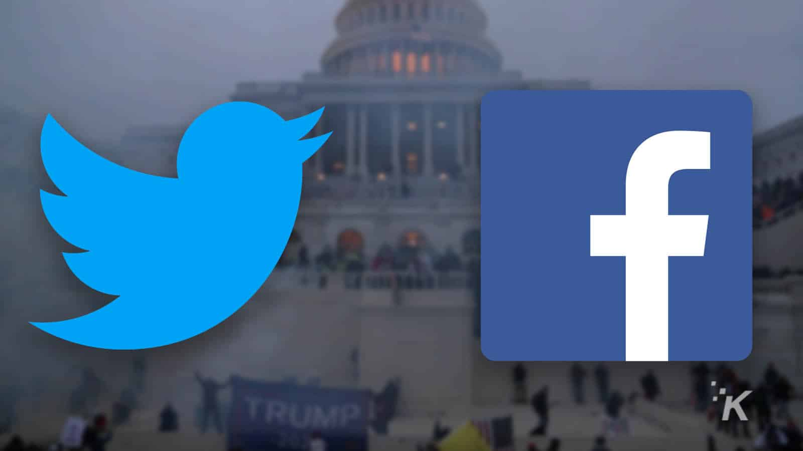 twitter and facebook logos in from of us capitol donald trump