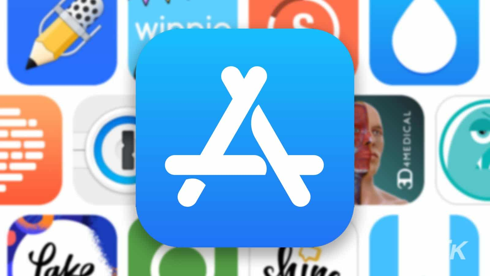 apple app store logo with blurred background