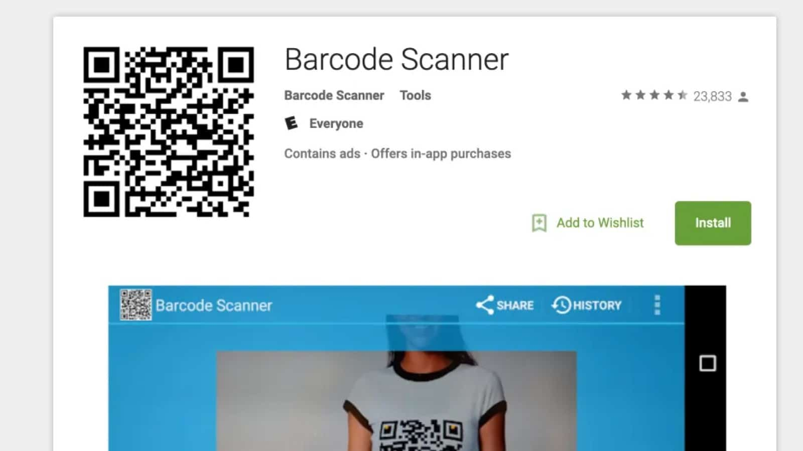 barcode scanner google play store page