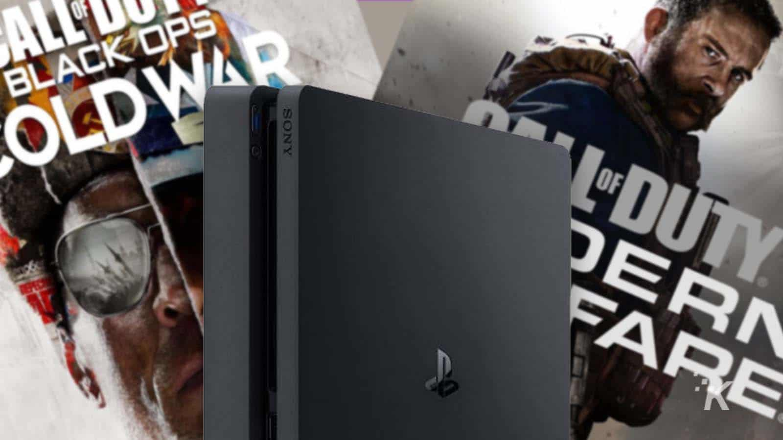 playstation 4 console with call of duty titles behind it