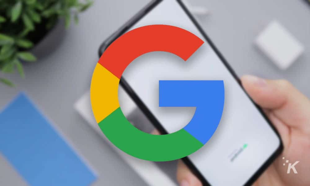 google logo with blurred pixel background