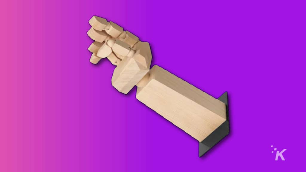 wooden hand to hold your headphones from ikea and asus