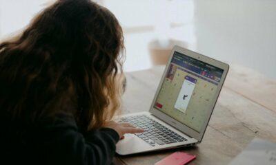 kid using internet on laptop