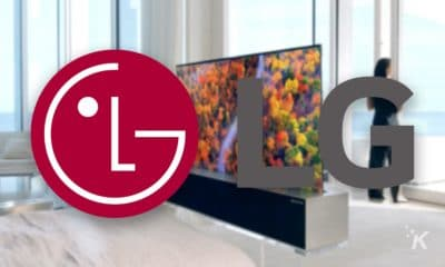 lg logo and rollable tv in background