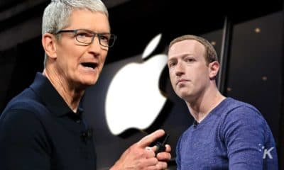 tim cook and mark zuckerberg in front of apple logo