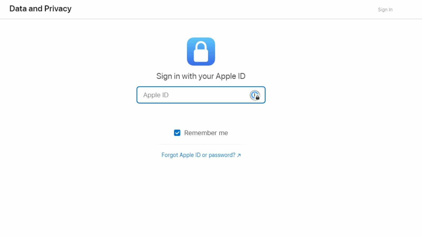 apple privacy webpage sign in