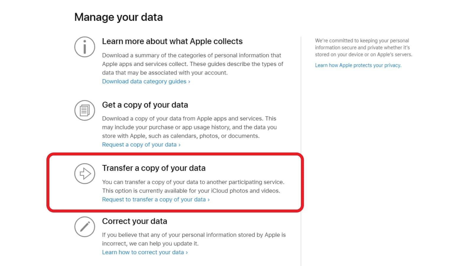 apple transfer data screen