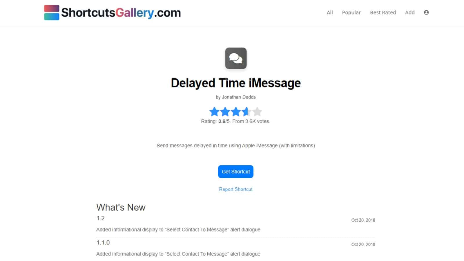 delayed time imessage shortcut link