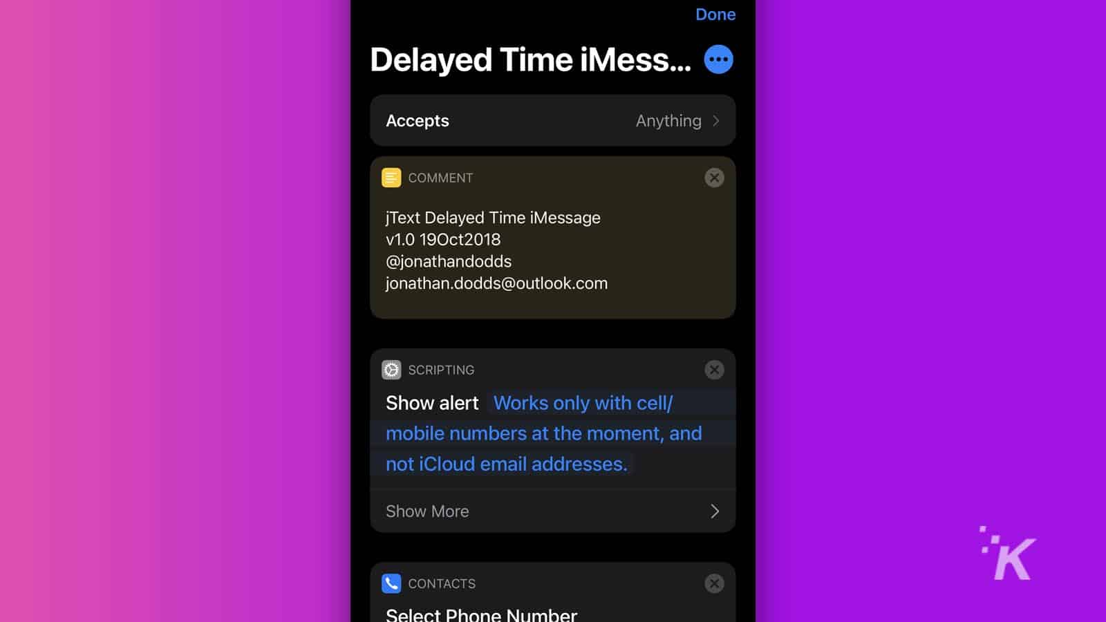 delayed time imessage shortcut