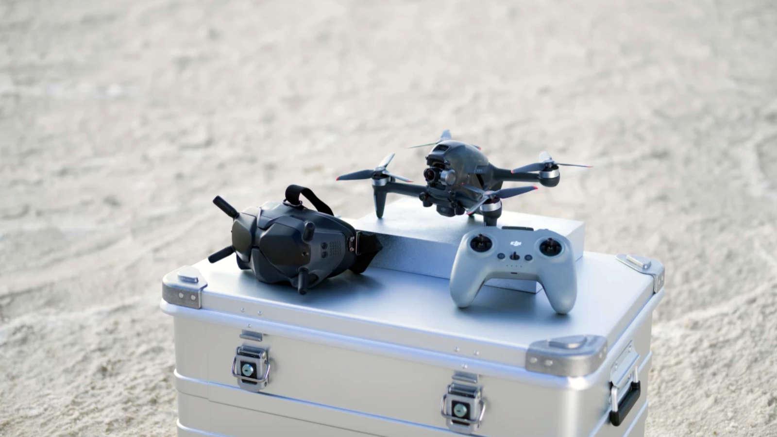 dji fpv drone on case