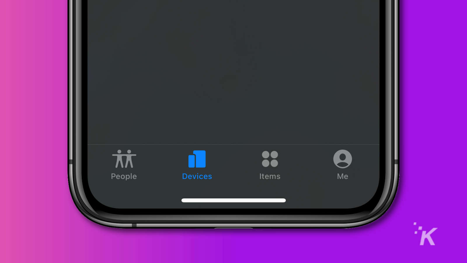 apple find my app showing devices tab