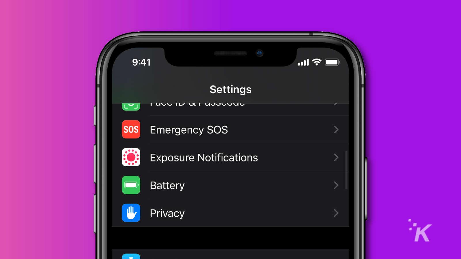 ios privacy menu