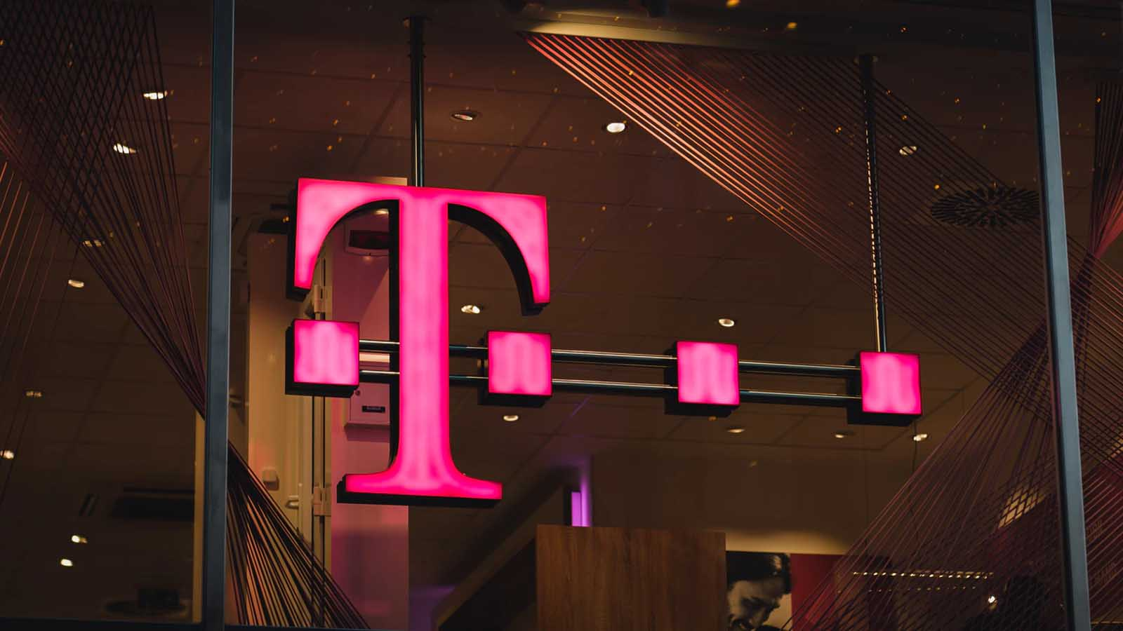t-mobile logo on glass wall