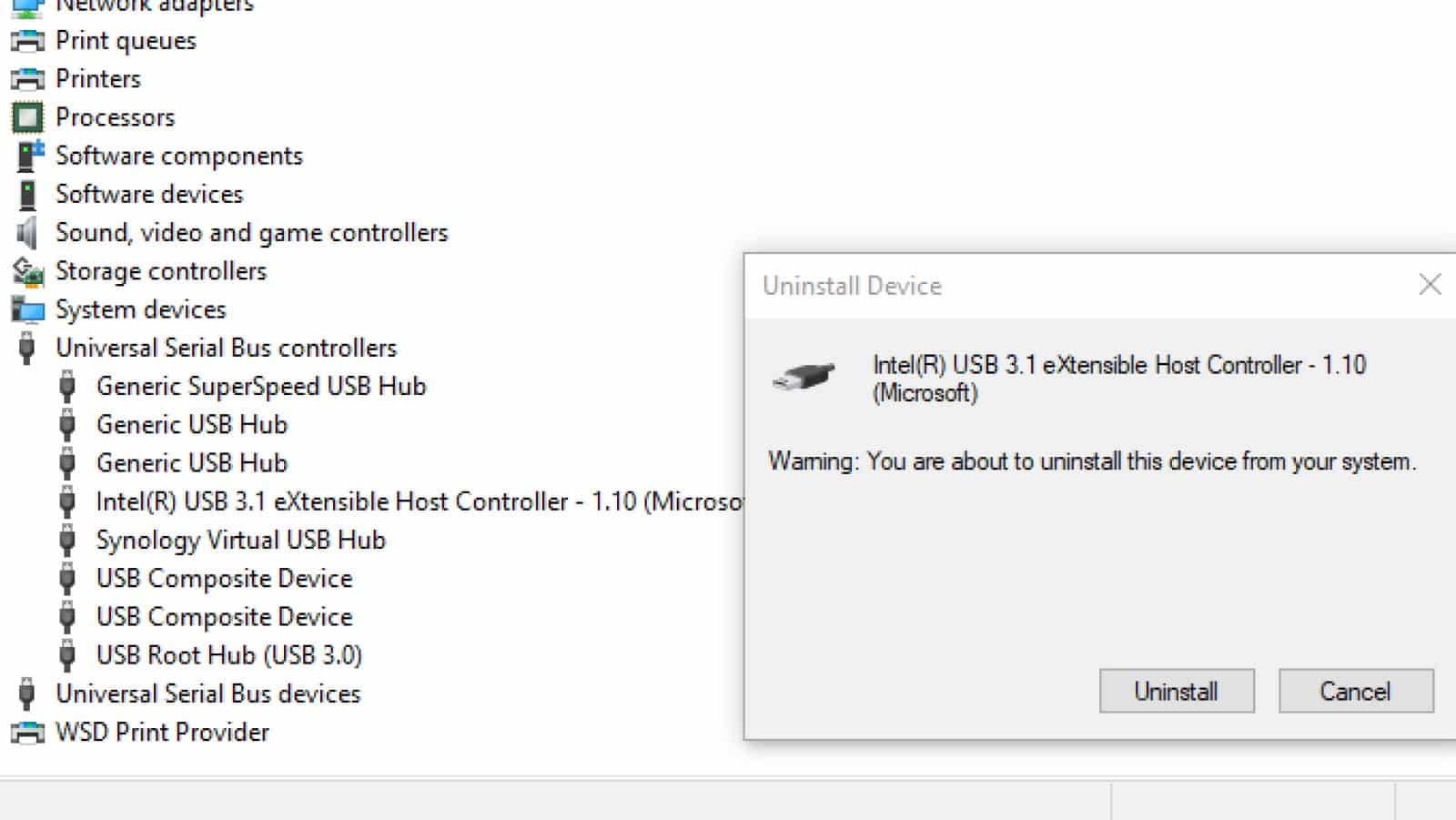 windows 10 device manager showing the uninstall of usb host controller