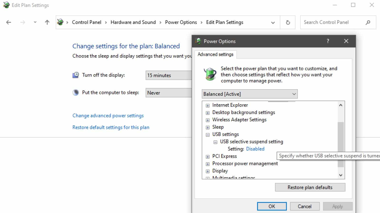 usb selective select settings in windows power plan settings