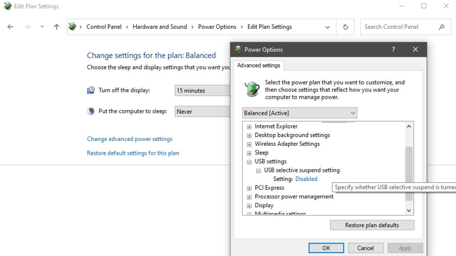 usb selective select settings in windows power plan settings