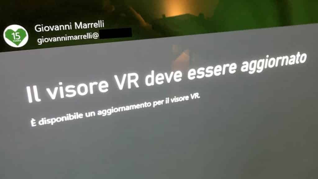 italian error message saying a vr headset needs updating on xbox series x