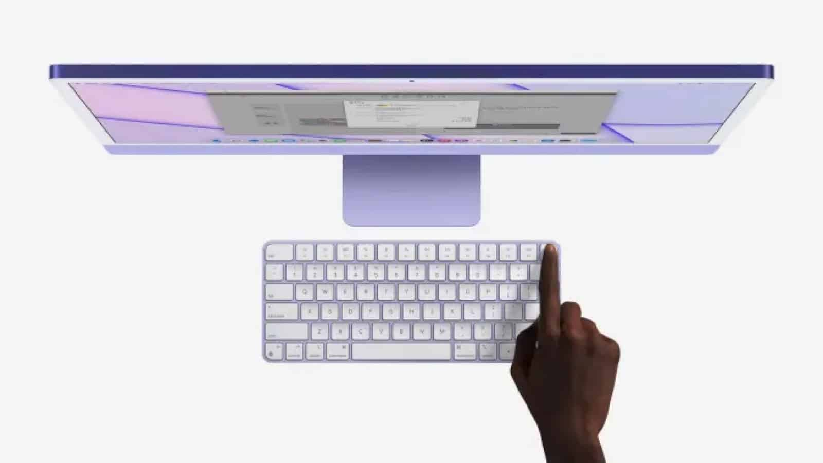 apple magic keyboard with touch id being used
