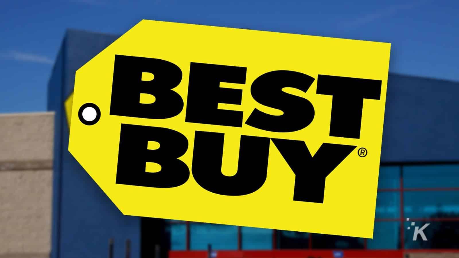 best buy logo on blurred background