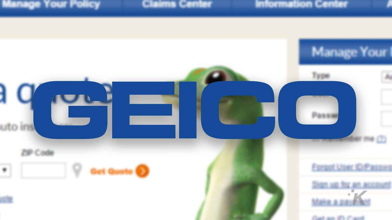 geico logo on blurred background